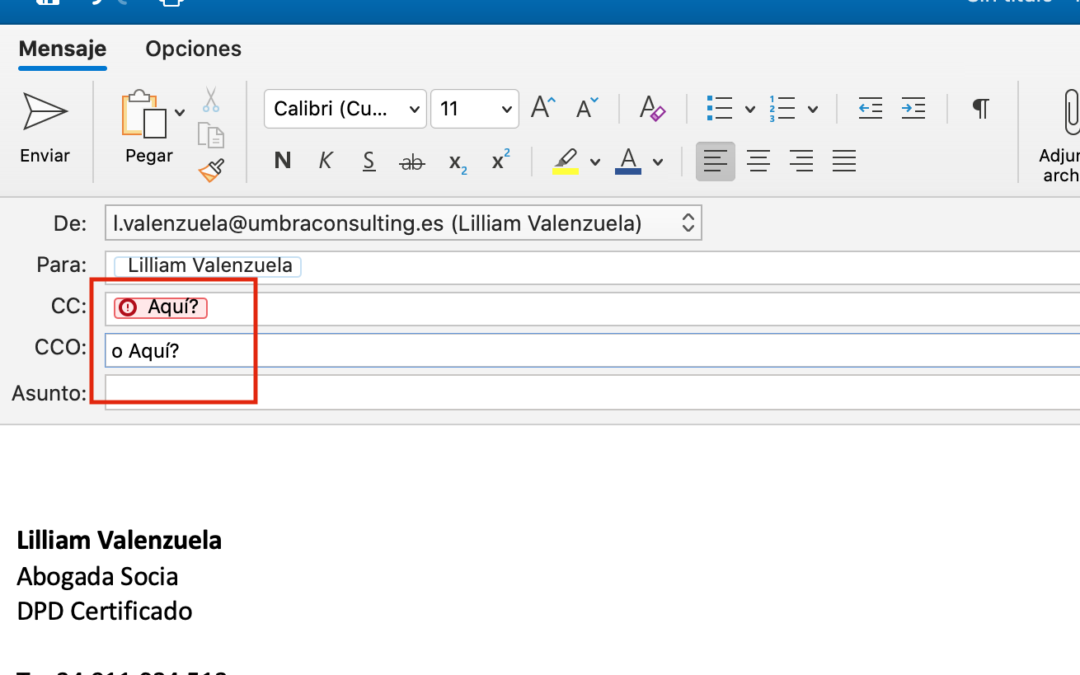Envío de email masivo en copia visible, en lugar de copia oculta. Implicaciones legales y recomendaciones.